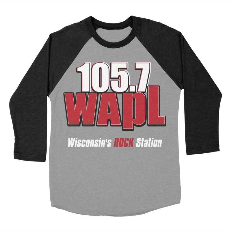 WAPL Stacked Logo (white lettering) Men's Baseball Triblend Longsleeve T-Shirt by 105.7 WAPL Web Store