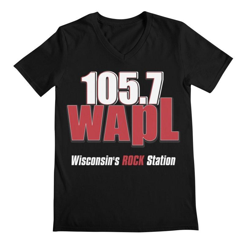 WAPL Stacked Logo (white lettering) Men's Regular V-Neck by 105.7 WAPL Web Store