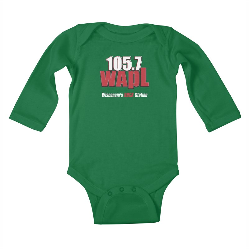 WAPL Stacked Logo (white lettering) Kids Baby Longsleeve Bodysuit by 105.7 WAPL Web Store