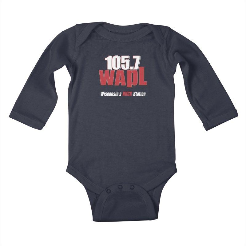 WAPL Stacked Logo (white lettering) Kids Baby Longsleeve Bodysuit by 105.7 WAPL Store
