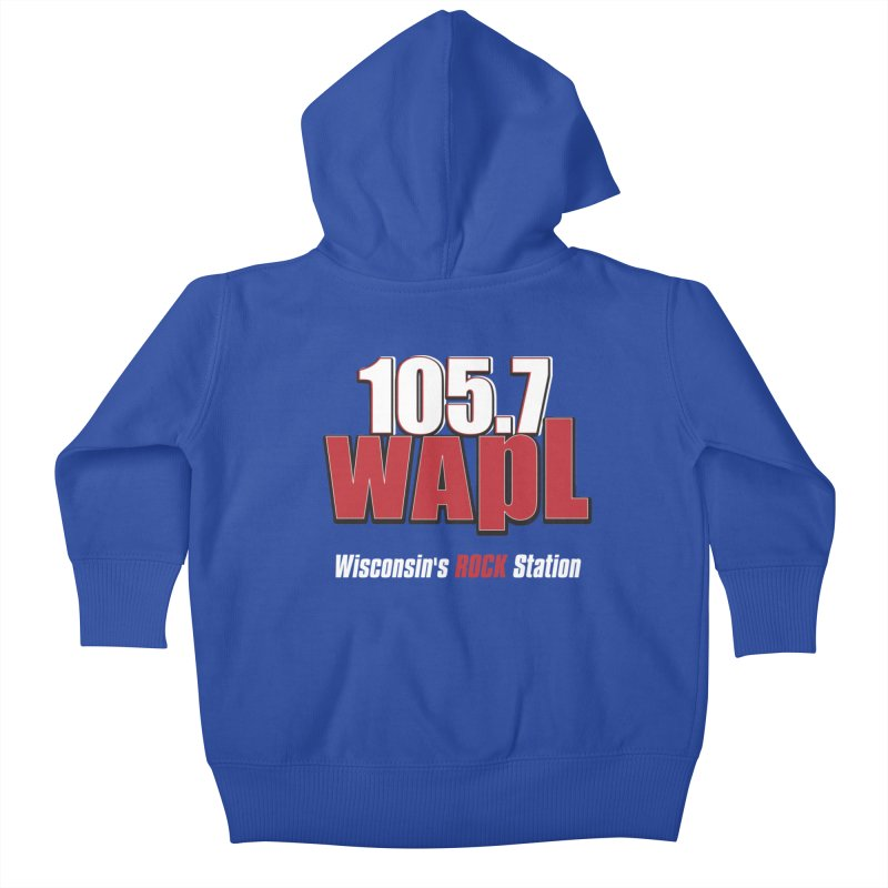 WAPL Stacked Logo (white lettering) Kids Baby Zip-Up Hoody by 105.7 WAPL Store
