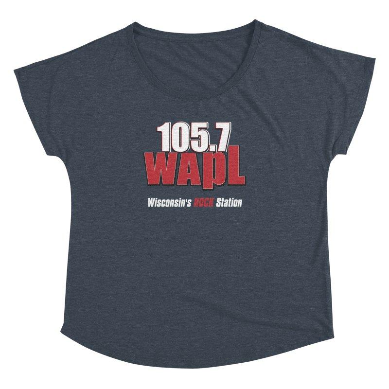 WAPL Stacked Logo (white lettering) Women's Dolman Scoop Neck by 105.7 WAPL Web Store