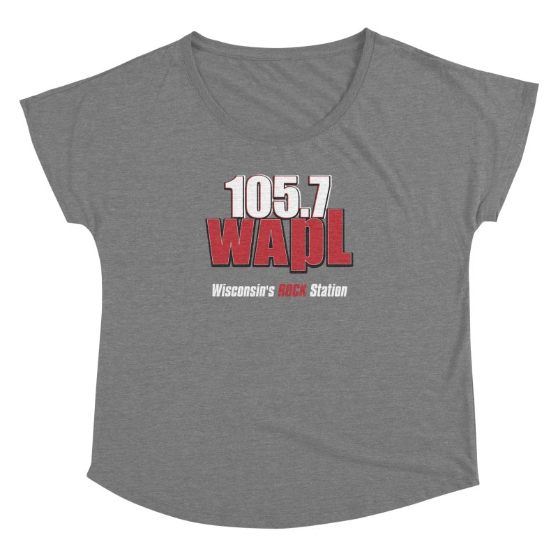 WAPL Stacked Logo (white lettering) Women's Dolman Scoop Neck by 105.7 WAPL Web Store