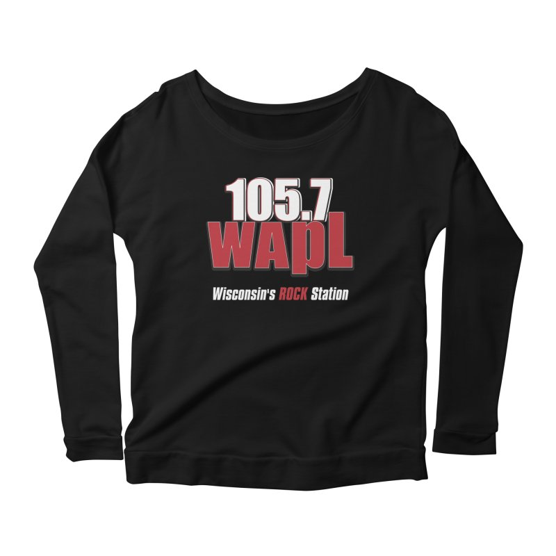 WAPL Stacked Logo (white lettering) Women's Scoop Neck Longsleeve T-Shirt by 105.7 WAPL Web Store