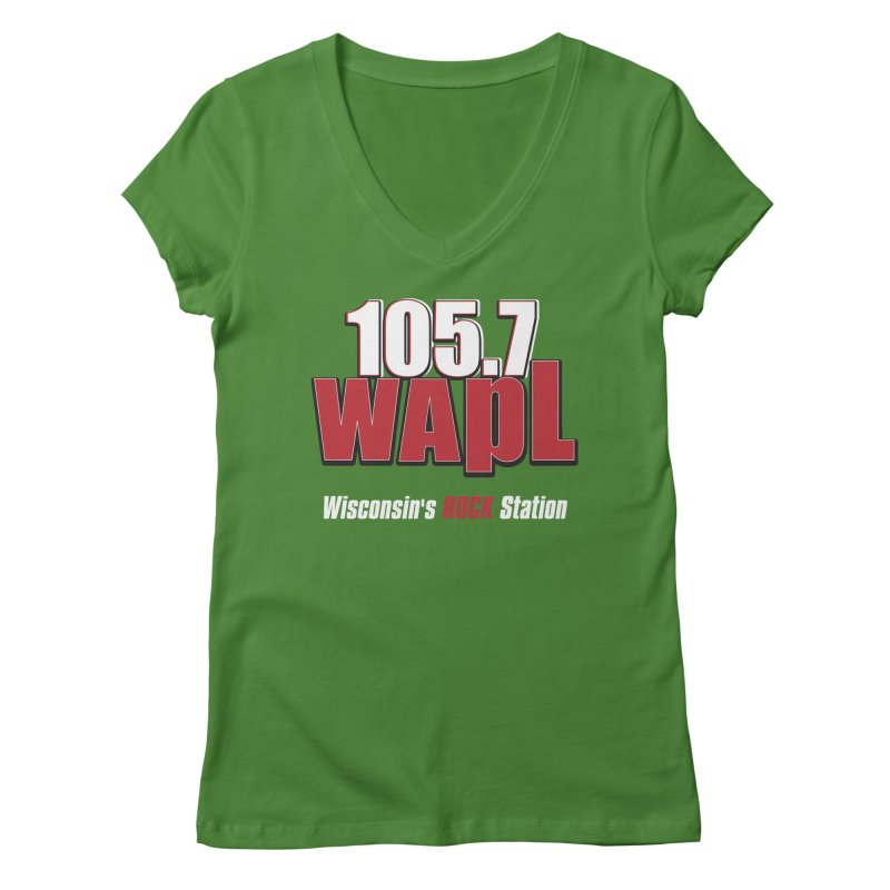 WAPL Stacked Logo (white lettering) Women's Regular V-Neck by 105.7 WAPL Web Store