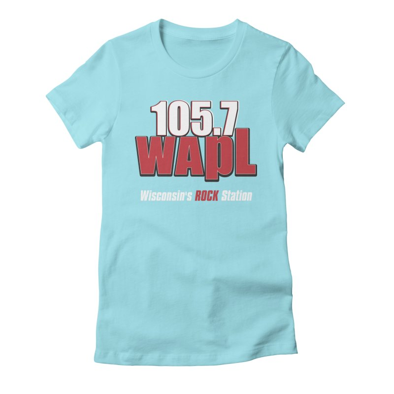 WAPL Stacked Logo (white lettering) Women's Fitted T-Shirt by 105.7 WAPL Web Store