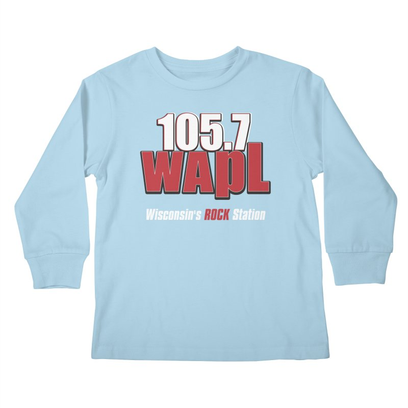 WAPL Stacked Logo (white lettering) Kids Longsleeve T-Shirt by 105.7 WAPL Web Store
