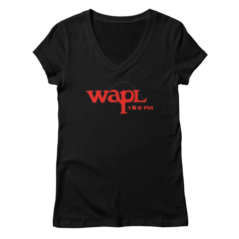 WAPL 80s 'Apple Tree' - Version 2 Women's V-Neck by 105.7 WAPL Store