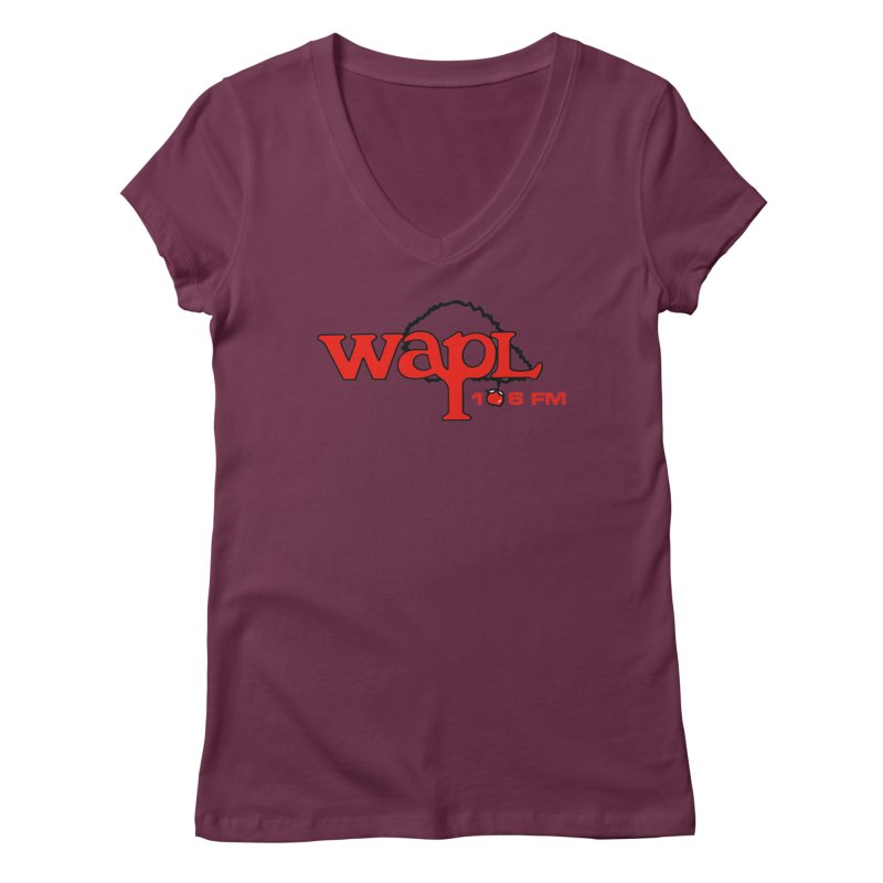 WAPL 80s 'Apple Tree' - Version 2 Women's Regular V-Neck by 105.7 WAPL Web Store