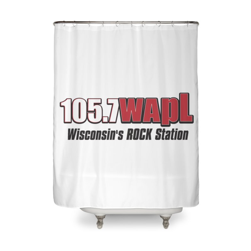WAPL Horizontal Logo [Black Lettering] Home Shower Curtain by 105.7 WAPL Web Store