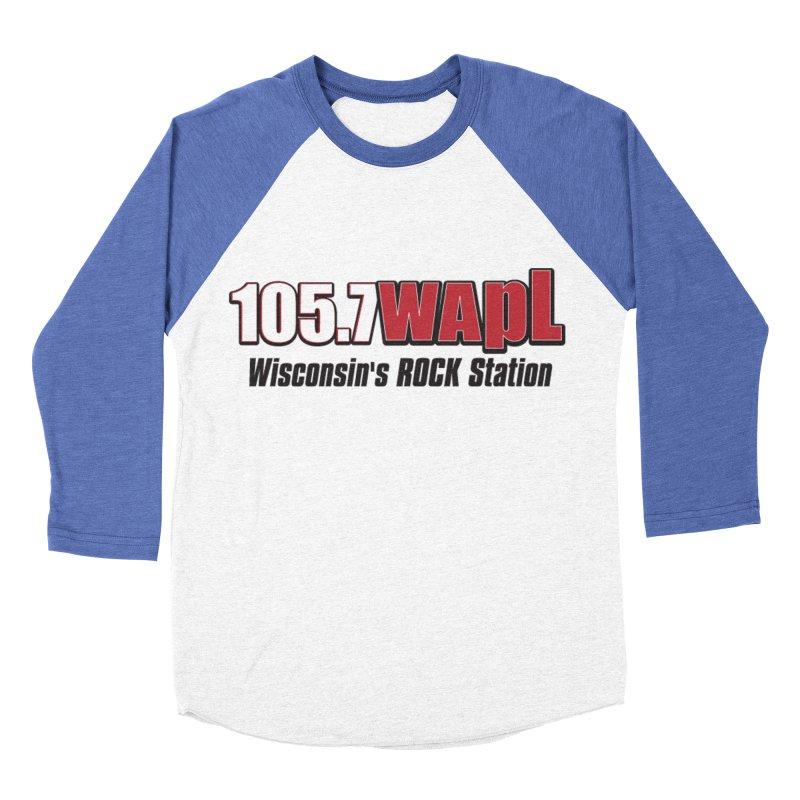 WAPL Horizontal Logo [Black Lettering] Men's Baseball Triblend Longsleeve T-Shirt by 105.7 WAPL Web Store