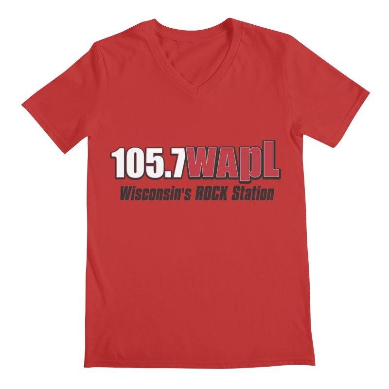 WAPL Horizontal Logo [Black Lettering] Men's Regular V-Neck by 105.7 WAPL Web Store