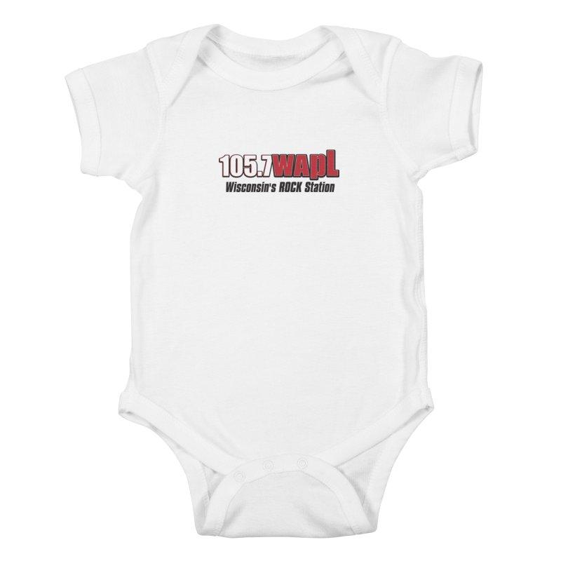 WAPL Horizontal Logo [Black Lettering] Kids Baby Bodysuit by 105.7 WAPL Web Store
