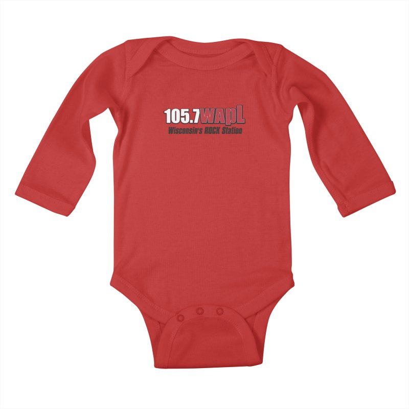 WAPL Horizontal Logo [Black Lettering] Kids Baby Longsleeve Bodysuit by 105.7 WAPL Web Store