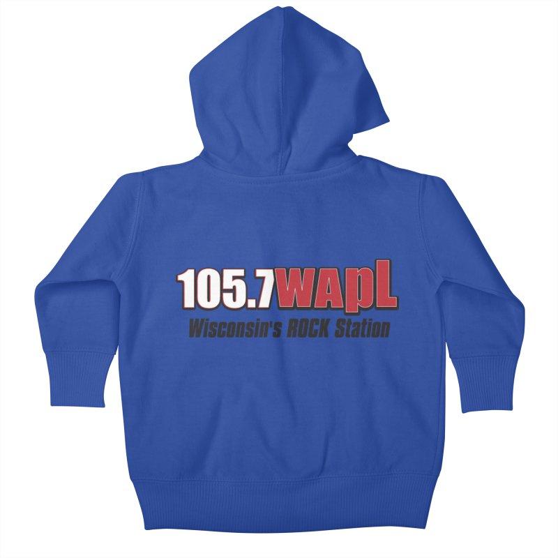 WAPL Horizontal Logo [Black Lettering] Kids Baby Zip-Up Hoody by 105.7 WAPL Web Store
