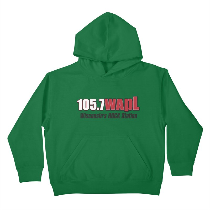 WAPL Horizontal Logo [Black Lettering] Kids Pullover Hoody by 105.7 WAPL Web Store