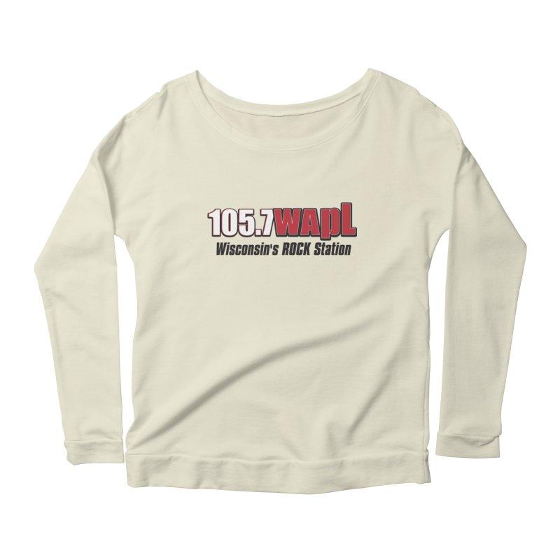 WAPL Horizontal Logo [Black Lettering] Women's Scoop Neck Longsleeve T-Shirt by 105.7 WAPL Web Store