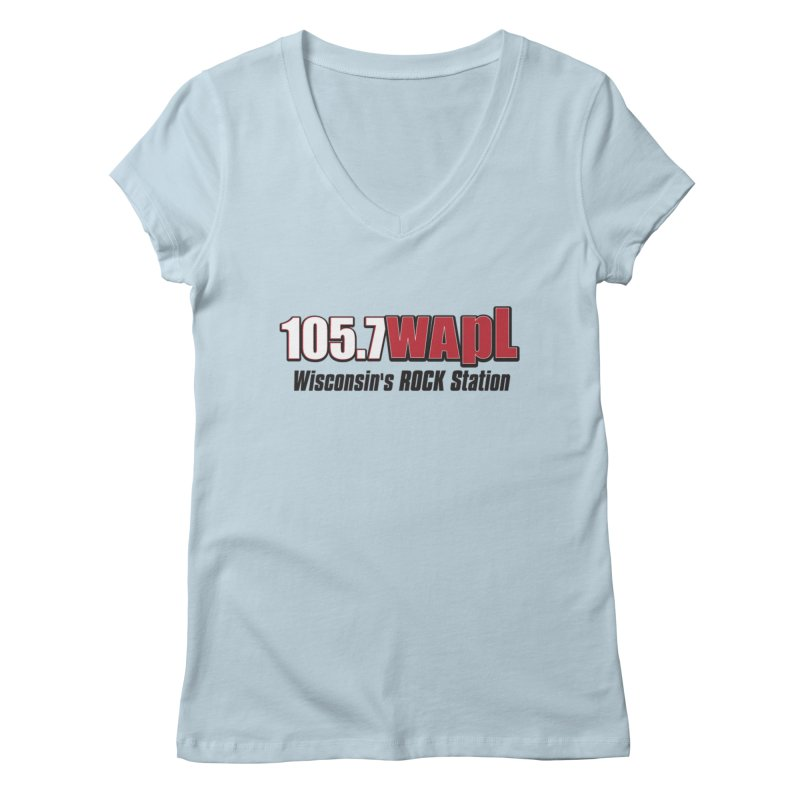 WAPL Horizontal Logo [Black Lettering] Women's V-Neck by 105.7 WAPL Web Store