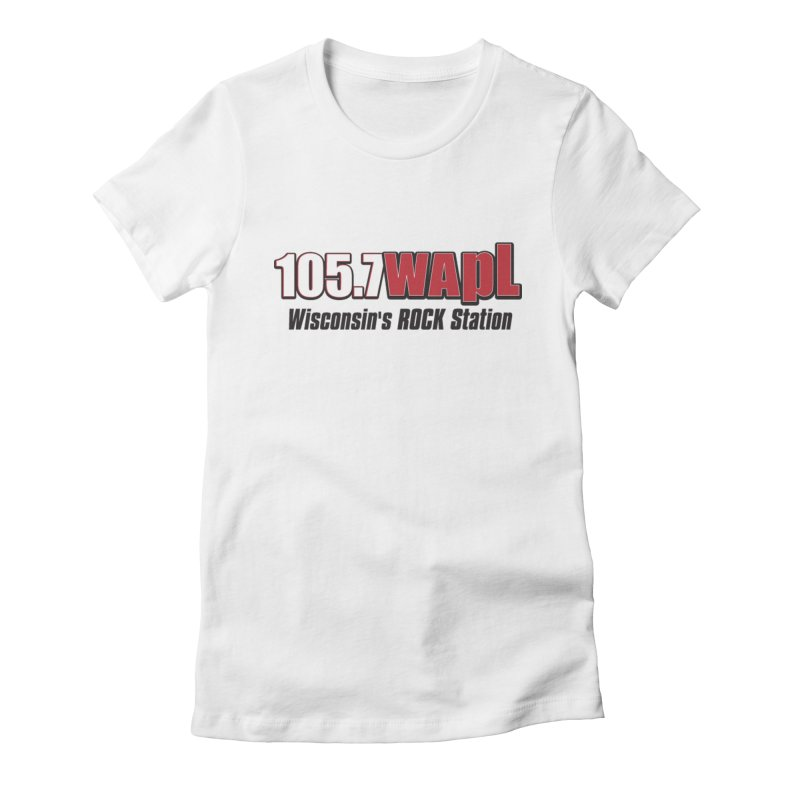 WAPL Horizontal Logo [Black Lettering] Women's Fitted T-Shirt by 105.7 WAPL Web Store