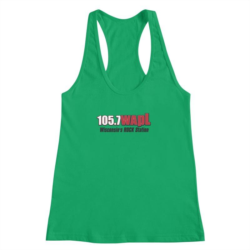 WAPL Horizontal Logo [Black Lettering] Women's Racerback Tank by 105.7 WAPL Web Store