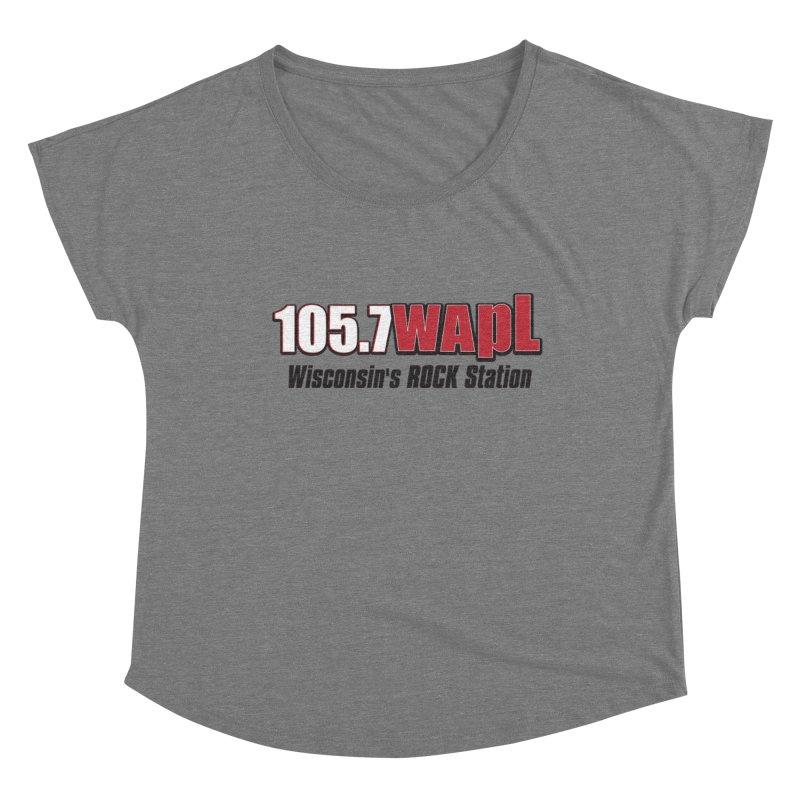 WAPL Horizontal Logo [Black Lettering] Women's Scoop Neck by 105.7 WAPL Store