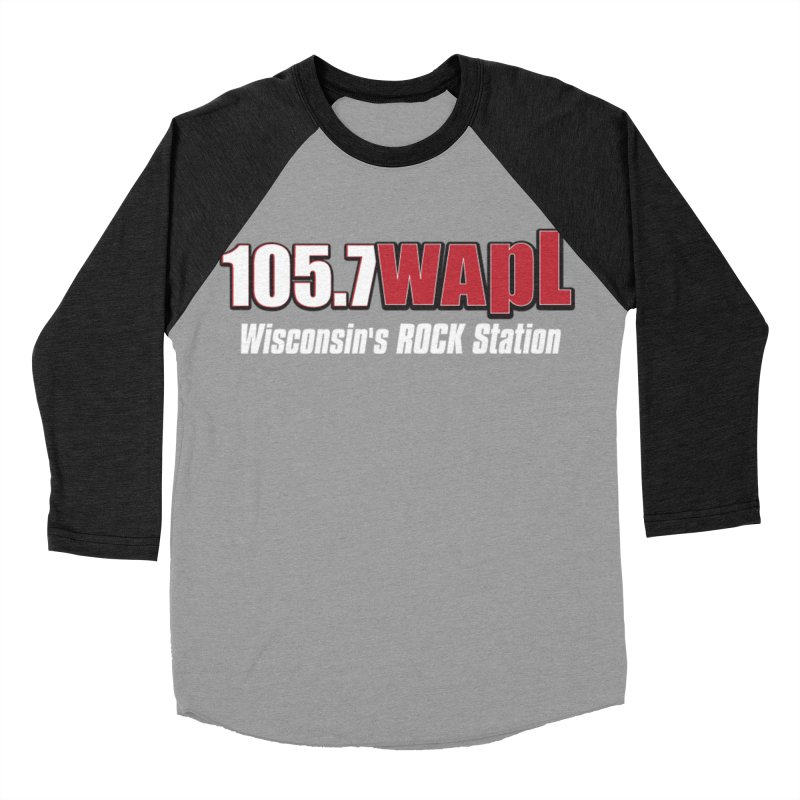 WAPL Horizontal Logo (White Lettering) Men's Baseball Triblend Longsleeve T-Shirt by 105.7 WAPL Web Store