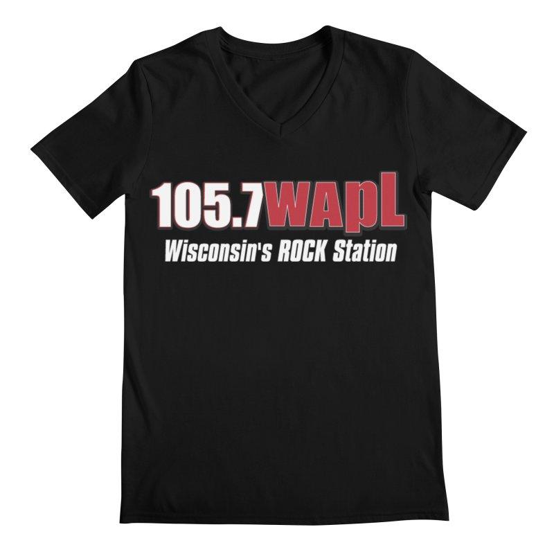 WAPL Horizontal Logo (White Lettering) Men's V-Neck by 105.7 WAPL Store