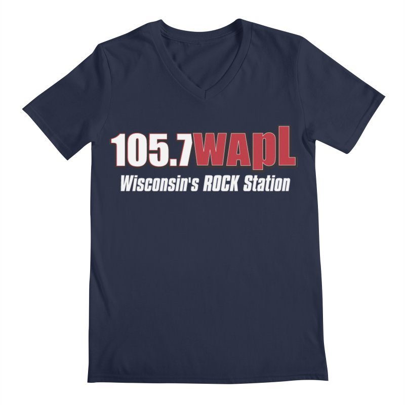 WAPL Horizontal Logo (White Lettering) Men's Regular V-Neck by 105.7 WAPL Web Store