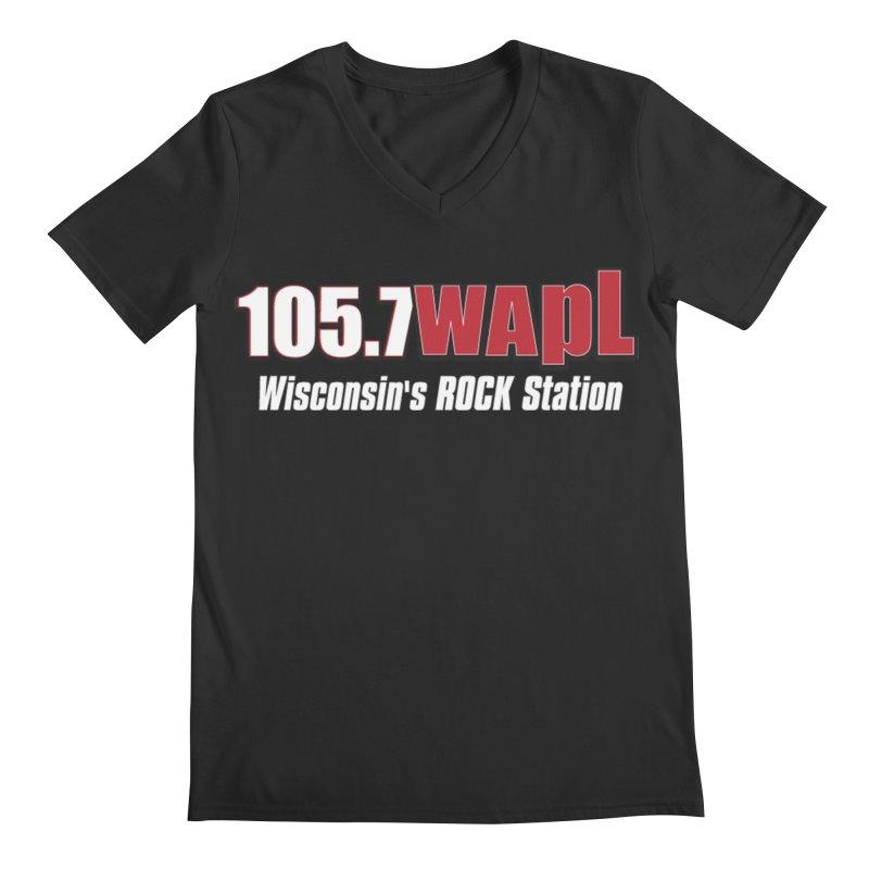 WAPL Horizontal Logo (White Lettering) Men's Regular V-Neck by 105.7 WAPL Web Store