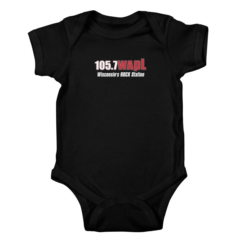 WAPL Horizontal Logo (White Lettering) Kids Baby Bodysuit by 105.7 WAPL Web Store