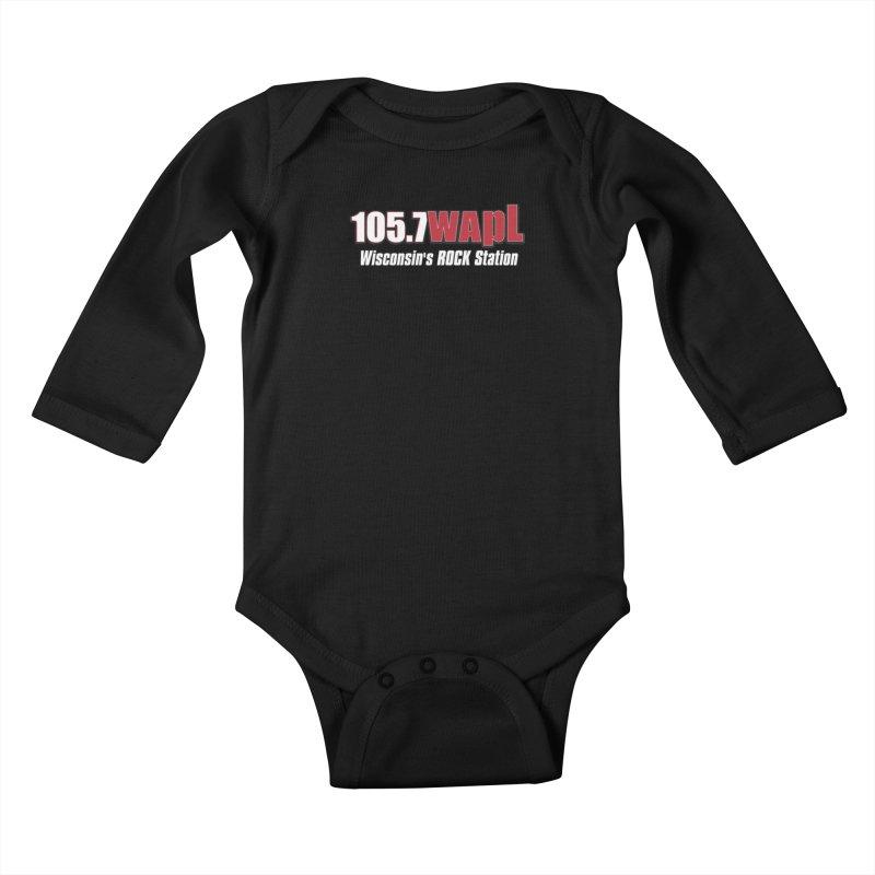 WAPL Horizontal Logo (White Lettering) Kids Baby Longsleeve Bodysuit by 105.7 WAPL Web Store