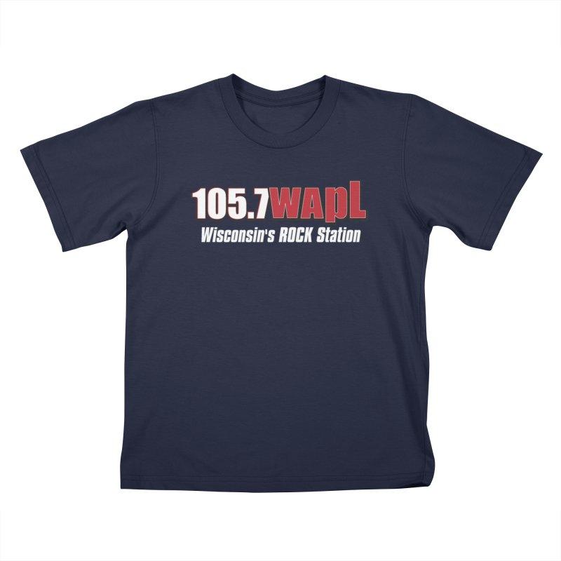 WAPL Horizontal Logo (White Lettering) Kids T-Shirt by 105.7 WAPL Store