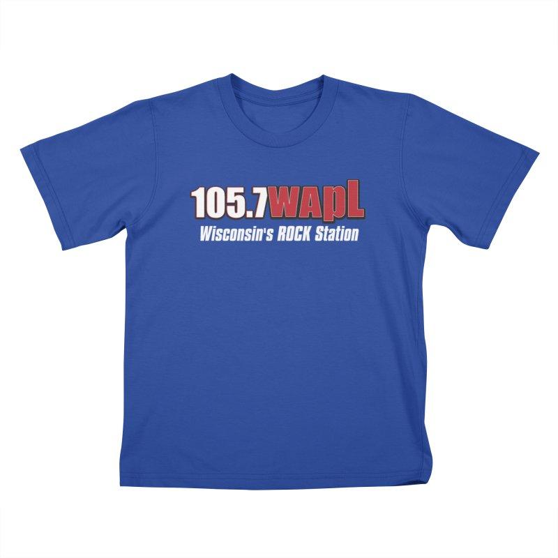 WAPL Horizontal Logo (White Lettering) Kids T-Shirt by 105.7 WAPL Web Store