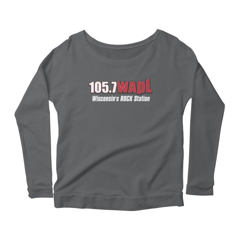 WAPL Horizontal Logo (White Lettering) Women's Scoop Neck Longsleeve T-Shirt by 105.7 WAPL Web Store