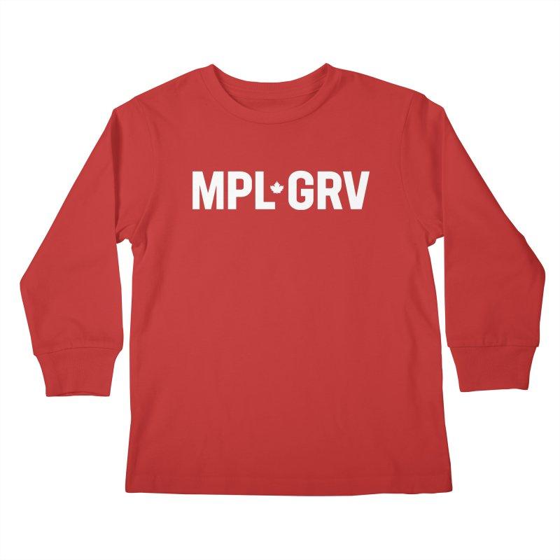 MAPLE GROVE (Horizontal White) Kids Longsleeve T-Shirt by 144design