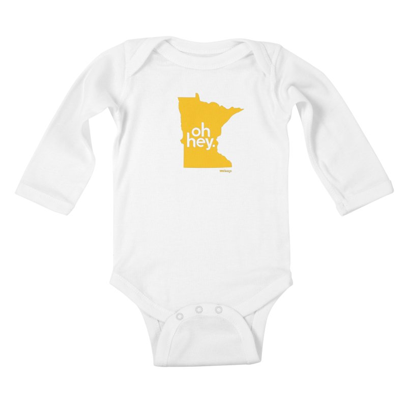Oh Hey : Minnesota in Kids Baby Longsleeve Bodysuit White by 144design