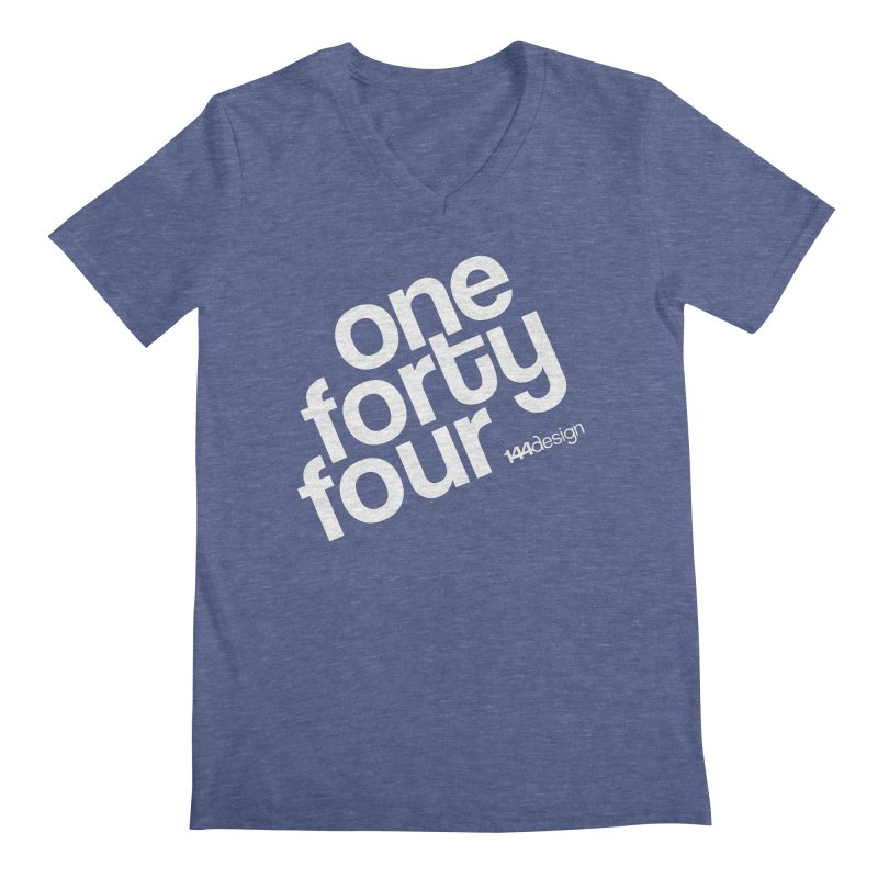 onefortyfour-white in Men's Regular V-Neck Heather Blue by 144design
