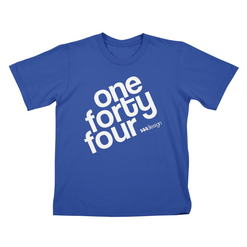 onefortyfour-white Kids T-Shirt by 144design
