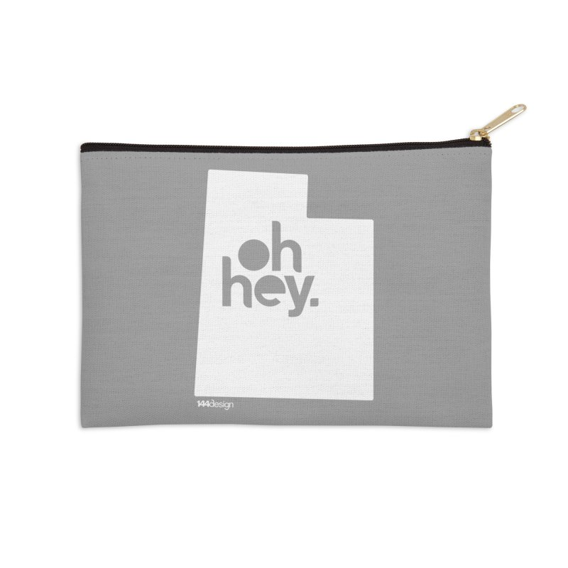 Oh Hey : Utah (White) Accessories Zip Pouch by 144design