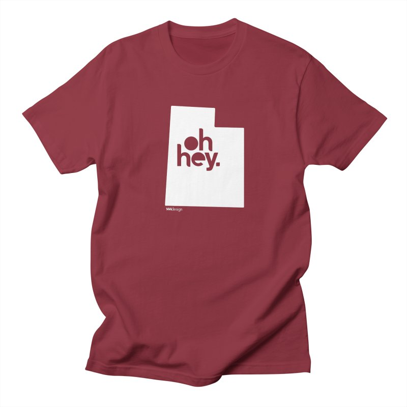 Oh Hey : Utah (White) in Men's T-Shirt Scarlet Red by 144design