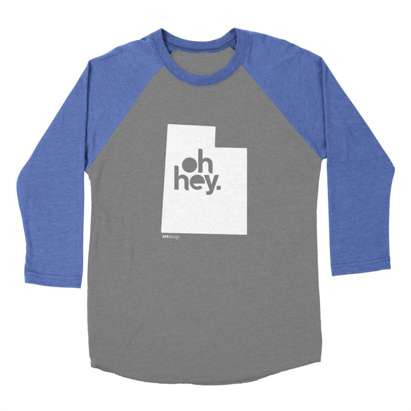 Oh Hey : Utah (White) Men's Baseball Triblend Longsleeve T-Shirt by 144design