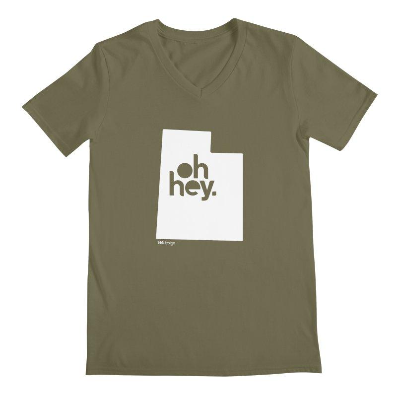 Oh Hey : Utah (White) Men's Regular V-Neck by 144design