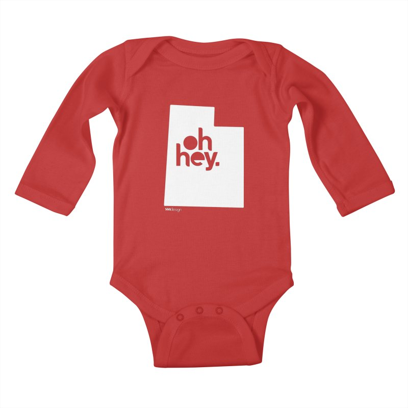 Oh Hey : Utah (White) Kids Baby Longsleeve Bodysuit by 144design