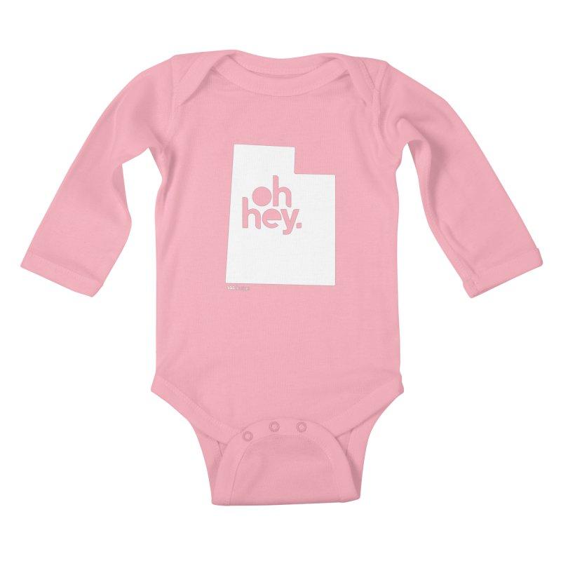 Oh Hey : Utah (White) Kids Baby Longsleeve Bodysuit by 144design