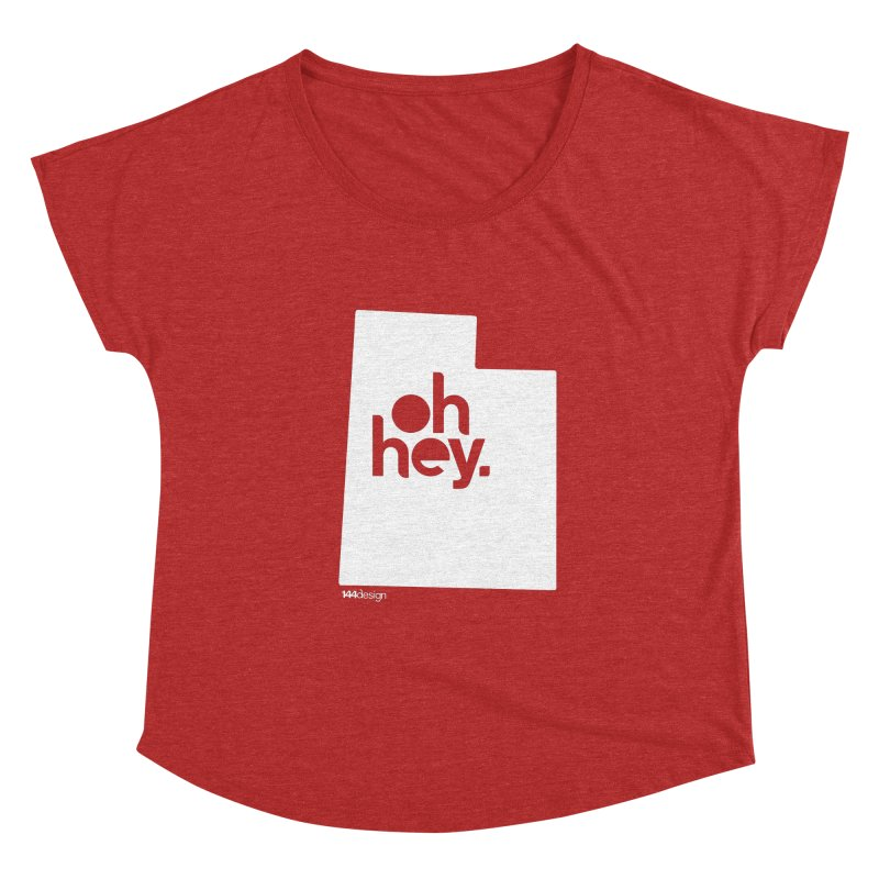 Oh Hey : Utah (White) Women's Dolman Scoop Neck by 144design