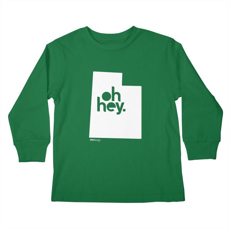 Oh Hey : Utah (White) Kids Longsleeve T-Shirt by 144design
