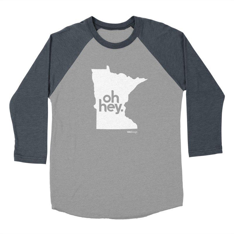 Oh Hey : Minnesota (White) in Women's Baseball Triblend Longsleeve T-Shirt Navy Sleeves by 144design