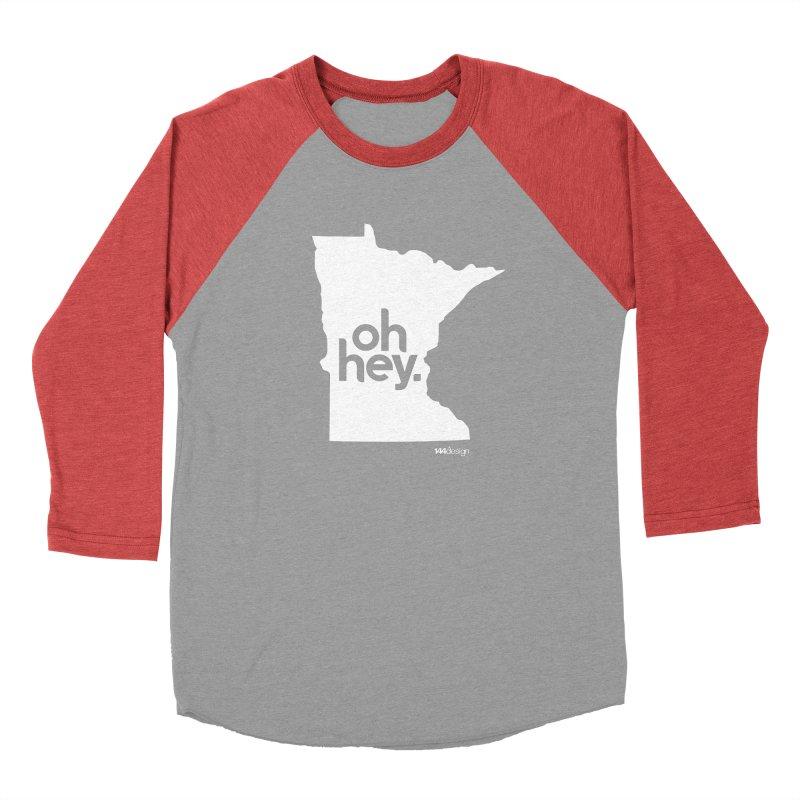 Oh Hey : Minnesota (White) Men's Baseball Triblend Longsleeve T-Shirt by 144design