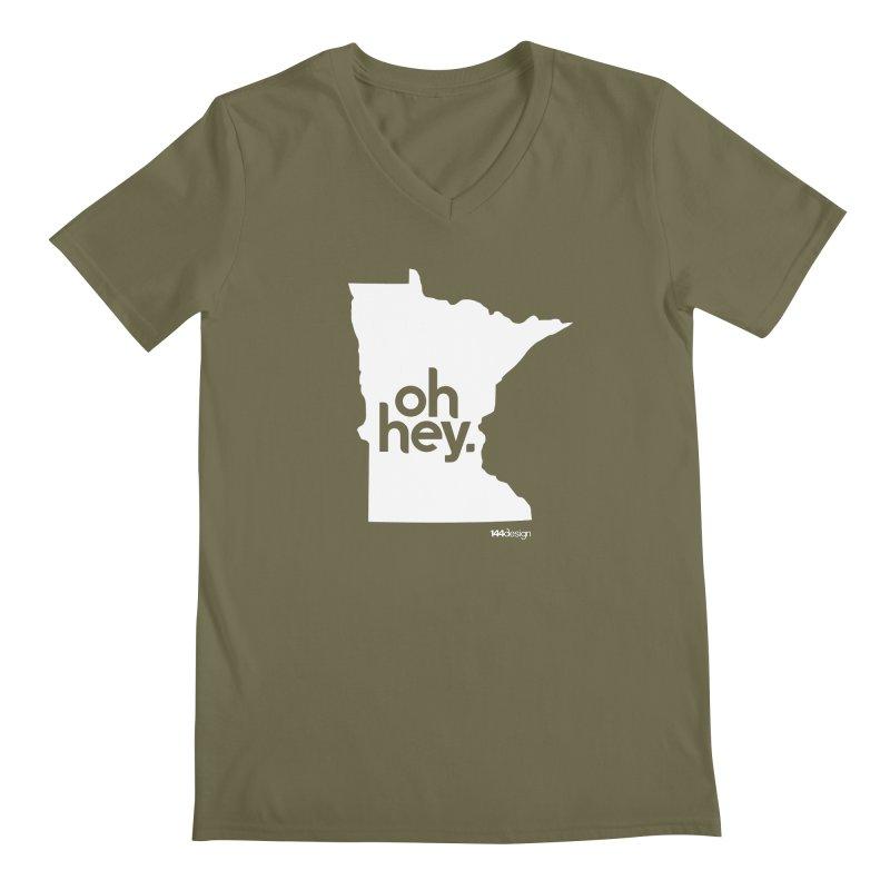 Oh Hey : Minnesota (White) Men's V-Neck by 144design