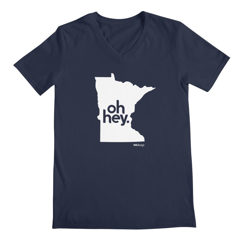 Oh Hey : Minnesota (White) Men's Regular V-Neck by 144design